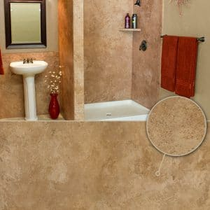 Austin Bathroom Remodel colors_oro-travertine - 1 Day Bath of Texas
