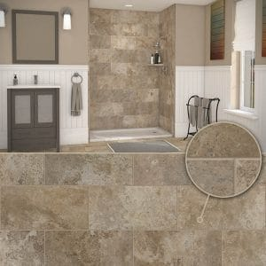 Austin Bathroom Remodel colors_simtile_t10_mocha-travertine - 1 Day Bath of Texas