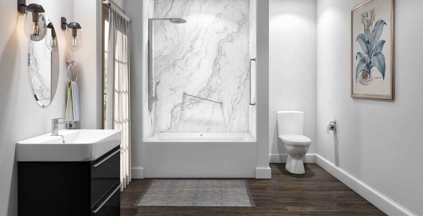 Tub Surround in White Pearl - Austin Bath Remodel - 1 Day Bath Texas